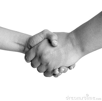 Man and woman handshake black and white isolated