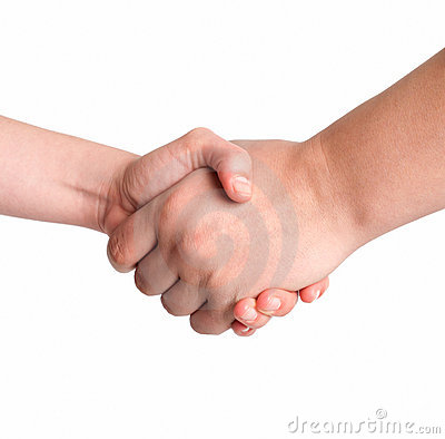 Man and woman handshake isolated on white