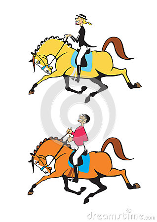 Man and woman horse riders