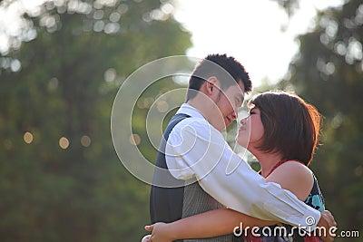 Man and woman hug with love emotion