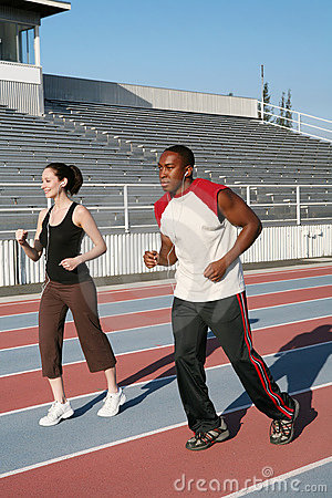 Man and Woman Jogging