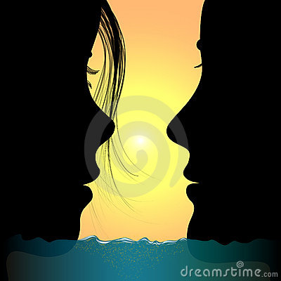 Man and woman:love in sea