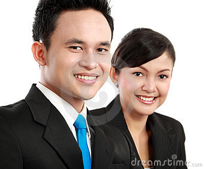 Man and woman office worker smiling