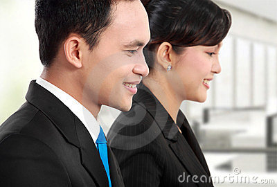 Man and woman office worker working