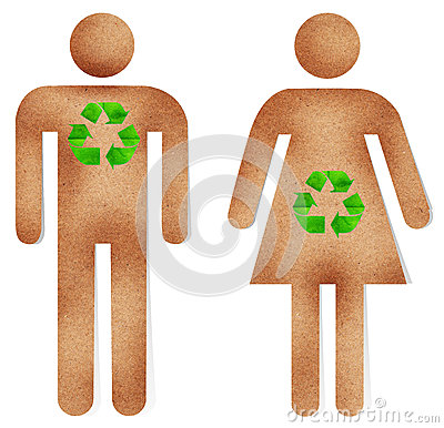Man and woman paper craft with green recycle sign