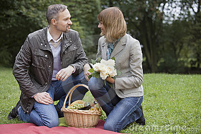 Man and woman by picnic
