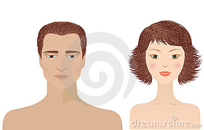 Man and woman portraits  isolated for design