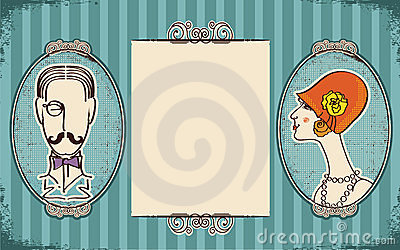 Man and woman portraits.Retro
