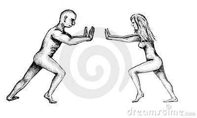 Man and woman pushing