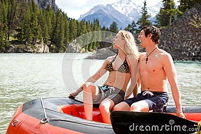 Man and Woman Rafting