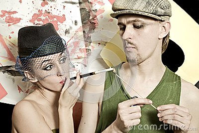 Man and woman in retro style