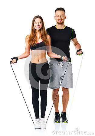 Man and woman with with ropes on the white background Stock Photo