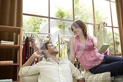 Man and Woman in Shop