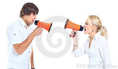 A man and a woman shouting