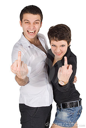 Man and woman showing middle finger