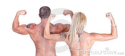 Man and woman showing who s back is bigge