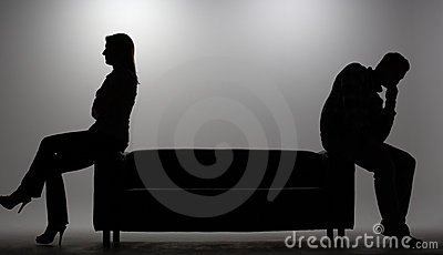 Man and woman in silhouette