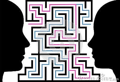Man woman silhouettes face puzzle maze