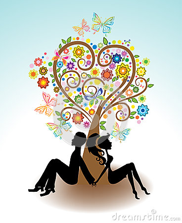 Man, Woman sitting under Love tree