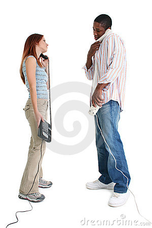 Man and Woman Speaking on Telephones