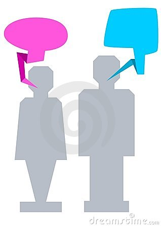 Man and woman with speech bubble