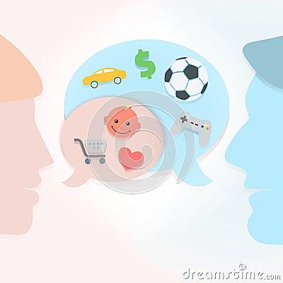 Man and woman speech bubbles