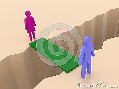 Man and woman split on sides, bridge through separation crack.