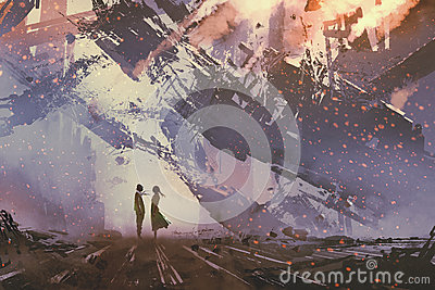 Man and woman standing against collapsing buildings city Cartoon Illustration