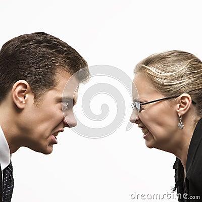 Man and woman staring