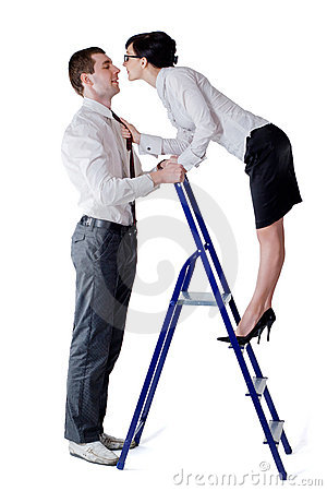 Man woman and stepladder