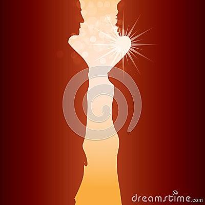 Man, woman and sunrise