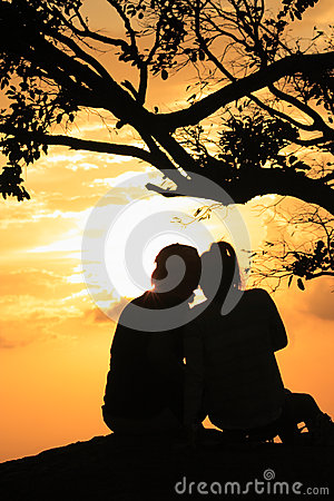Man and woman in sunset