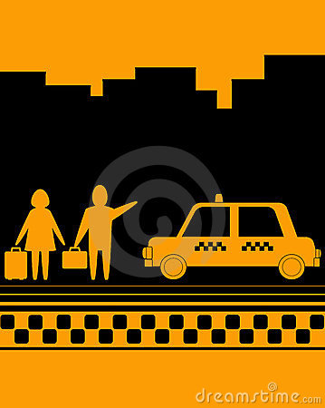 Man and woman on taxi stop