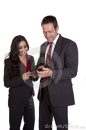 Man and woman texting