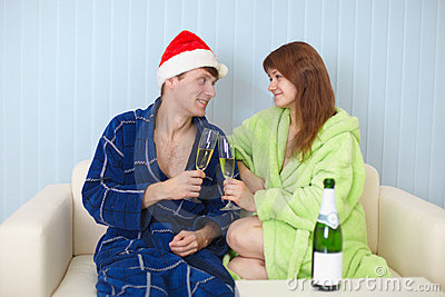 Man and woman together celebrate Christmas