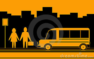 Man and woman waiting bus in city