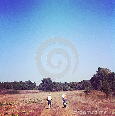 Man and woman on a walk in nature