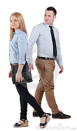Man and woman walking