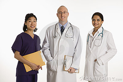 Man and women doctors.