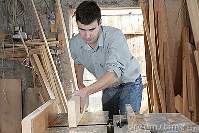 Man in wooden workshop