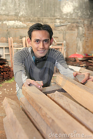 Man At Woods Factory Stock Image - Image: 6978231