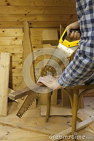 Man worging with saw