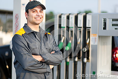 Gas Station Attendant At Work Stock Photo - Image: 47668543