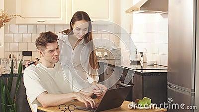 Man work at home, he is in freelance during quarantine coronavirus, he use laptop. stock video