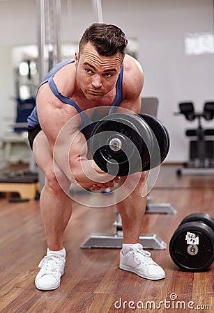 Man working biceps