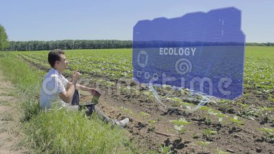 Man is working on HUD holographic display with text Ecology on the edge of the field. Businessman analyzes the situation on his plantation. Scientist examines stock video