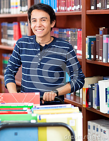 Man working at the library