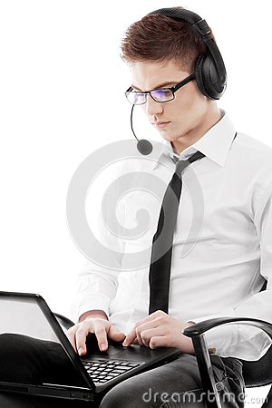 Man working with notebook
