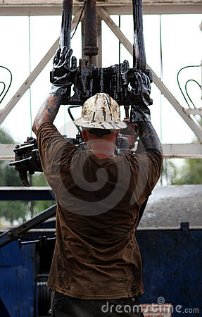 Free Man Working On Oil Rig Stock Image - 5151831