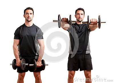 Man Working Out With Dumbbels